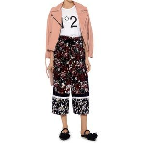 Mother of Pearl Pleated Floral Wide Leg Culottes S